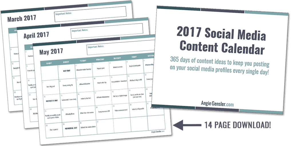 2017 social media content calendar