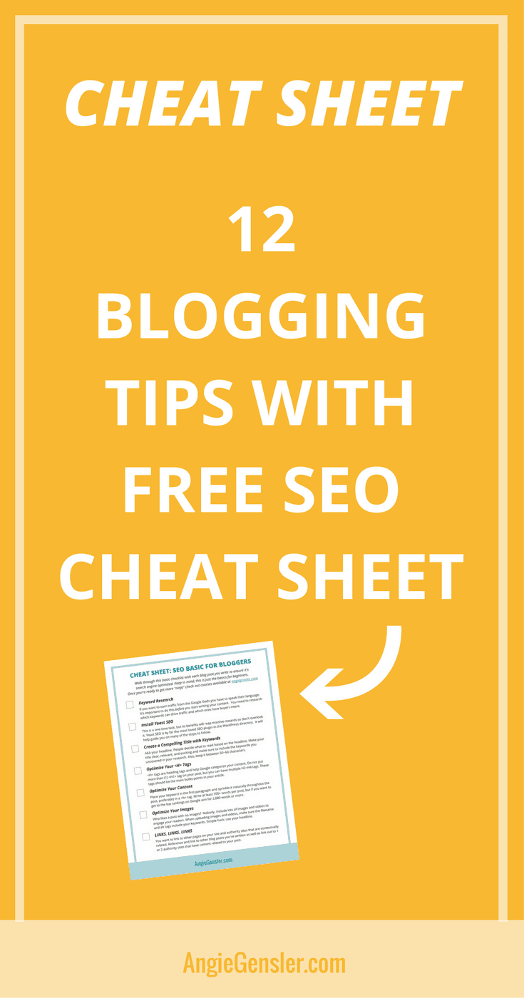 12 blogging tips with free SEO cheat sheet