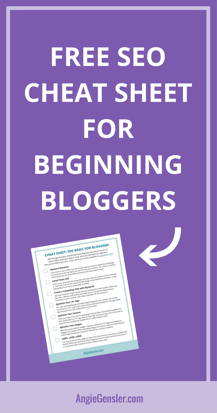 Free SEO cheat sheet for beginning bloggers